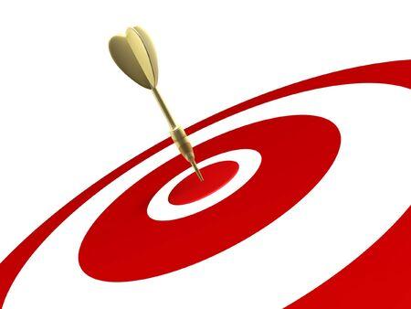 gilded: golden dart hit target isolated on white background Stock Photo