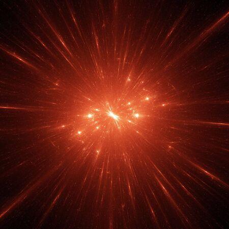 照らす: 暗い空間のバック グラウンドで抽象的なスパーク スター フィールド