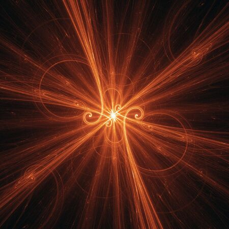 powerful aura: abstract shiny beam rays in dark space background