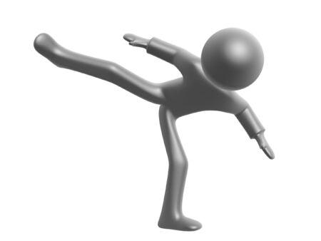 wrestle: kungfu fighter kick isolated on white background Stock Photo