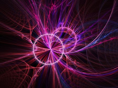 infernal: abstract double ring rays cross on dark background Stock Photo