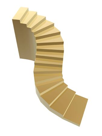 wriggle: golden steps to success isolated on white background Stock Photo