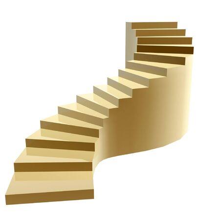 stair: gouden stappen naar succes geïsoleerd op witte achtergrond