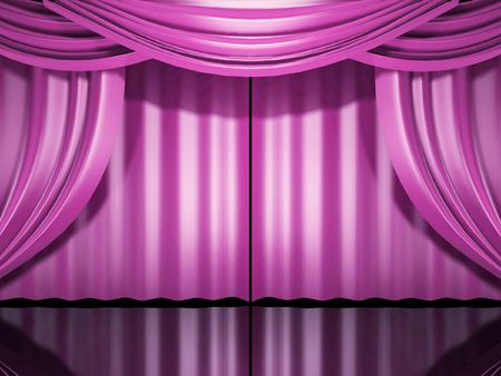 pink stage theater drapes open Stock Photo - 3519872