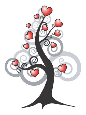 abstract vector tree and love hearts photo