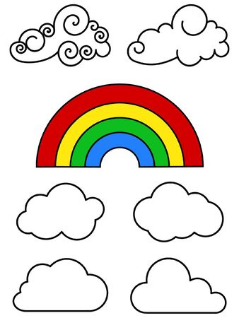 clouds outline and colorful rainbow on white background Stock Photo - 3592467