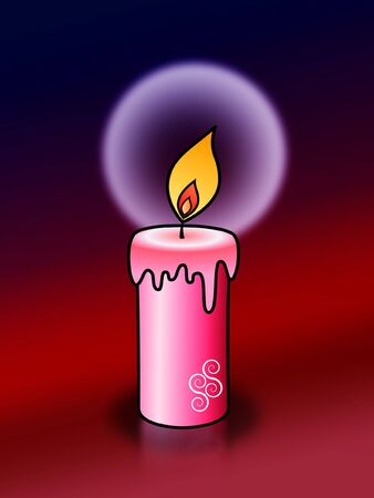 light of candles on dark red background photo