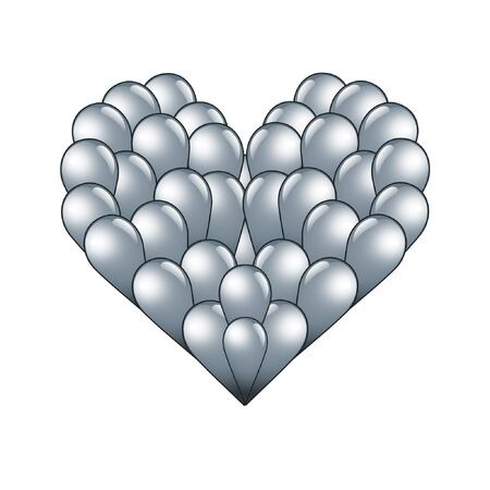 sliver: sliver heart shape formed with small drips isolated on white background
