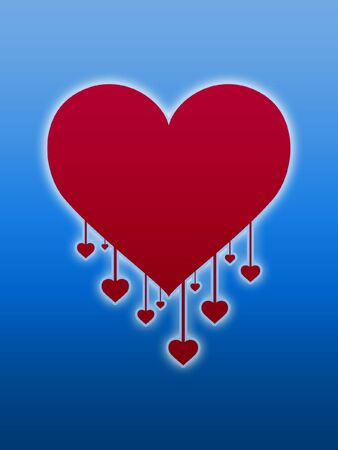 drop down: red heart shape and small hearts drop down Stock Photo