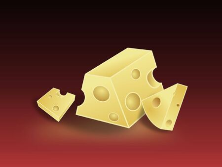 dieting: cheese pieces illustration on red background