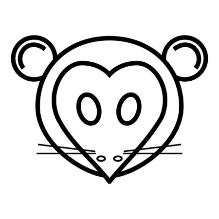 outline cartoon head of mouse isolated on white background