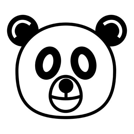 gentleness: outline cartoon head of panda isolated on white background Stock Photo