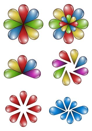 peacock wheel: drop flowers icon design isolated on white background