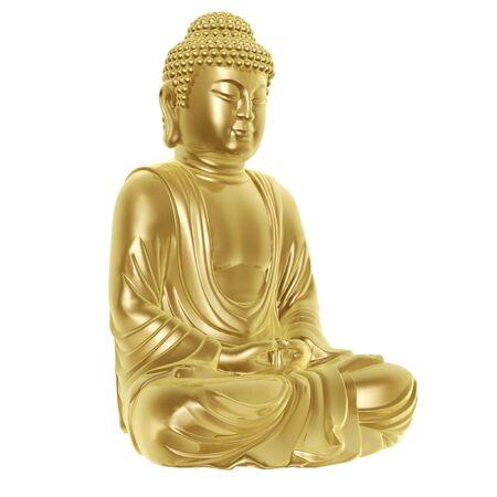 toog: gouden boeddha kleermakerszit op witte achtergrond