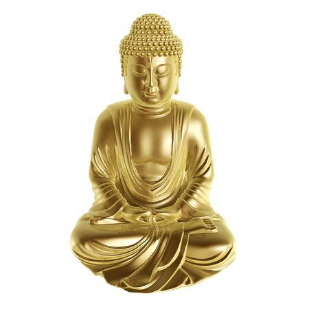 golden buddha sitting cross-legged on white background Stock Photo - 3763337