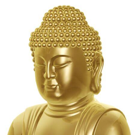 toog: gouden boeddha hoofd geïsoleerd op witte achtergrond Stockfoto
