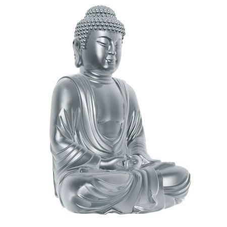 muse: golden buddha sitting cross-legged on white background