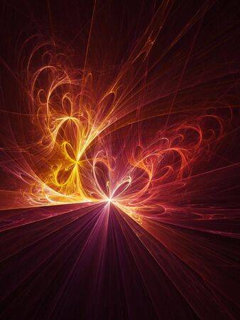 abstract fire twirl flame rays on dark background Stock Photo - 3805214