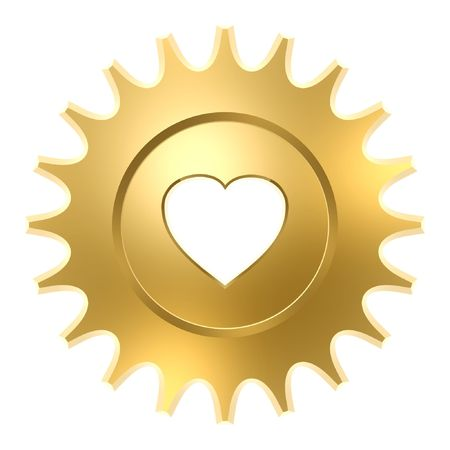 hard love: golden heart gear isolated on white background  Stock Photo