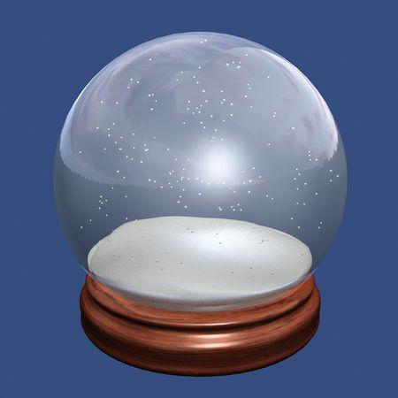 augur: snow globe of christmas on blue background