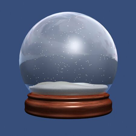 christal: snow globe of christmas on blue background