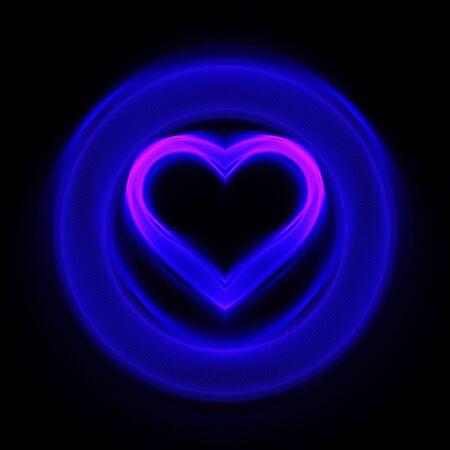 abstract blue heart wheel on dark background photo