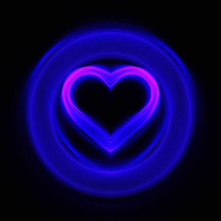 light traces: abstract blue heart wheel on dark background