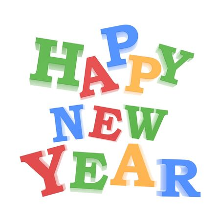 2 YEARS: happy new year greeting logo isolated on white background