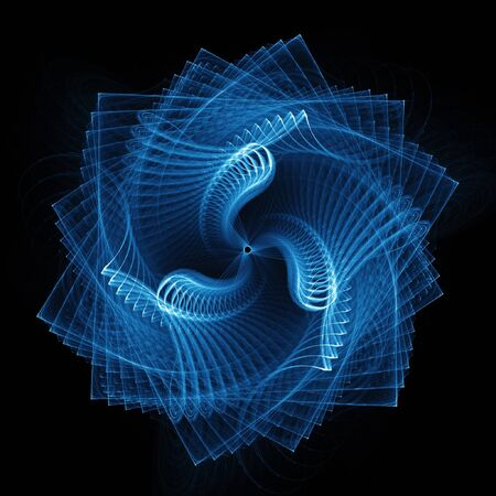 revolve: abstract square spiral rays on dark background Stock Photo