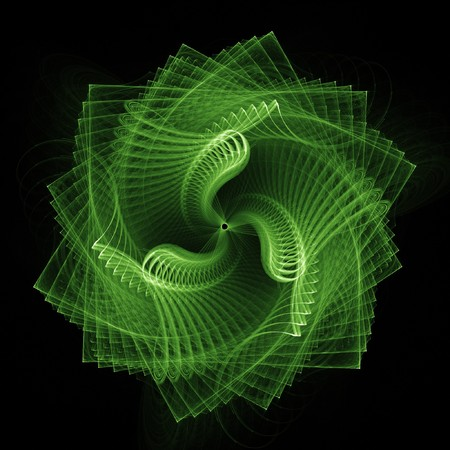 to revolve: abstract square spiral rays on dark background Stock Photo