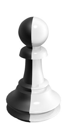 betray: black white pawn isolated on white background