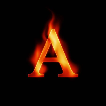 fire letter A isolated on dark background photo