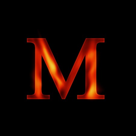 fire letter M isolated on dark background photo