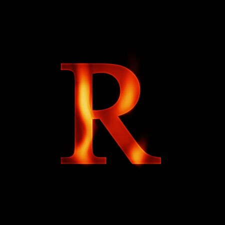 heat register: fire letter R isolated on dark background Stock Photo