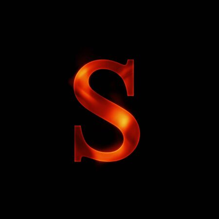 fire letter S isolated on dark background photo