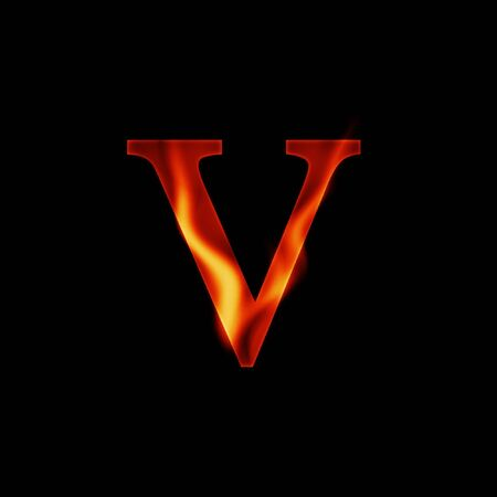 fire letter V isolated on dark background photo