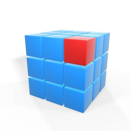 obvious: unique red cube on top corner of blue ones