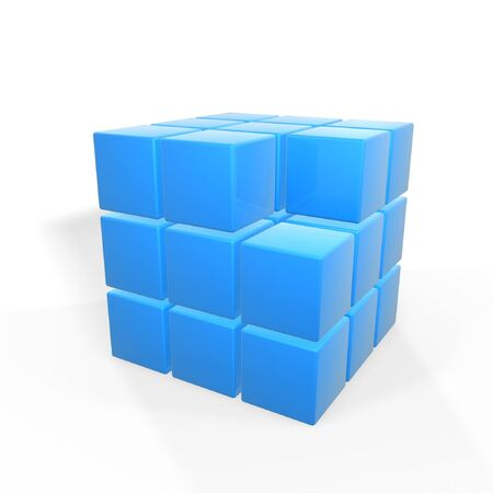 disrepair: missing one of group of cubes isolated on white background Stock Photo