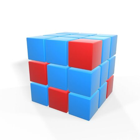 obvious: unique red cubes on group of blue ones