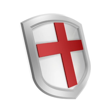 red cross shield symbol isolated on white background photo