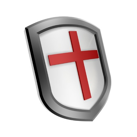 red cross shield symbol isolated on white background Stock Photo - 4467402