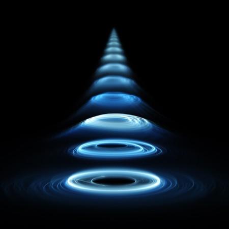 sonar: les ondes sonores sur les anneaux de fond sombre