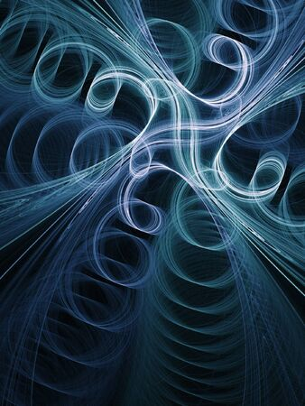 conundrum: abstract blue chaos swirl on dark background