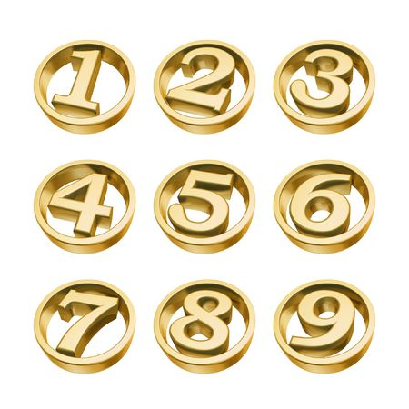 golden numbers of phone isolated on white background Stock Photo - 4654067