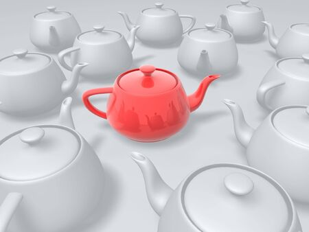 illustrious: unique red teapot in group of white teapots Stock Photo