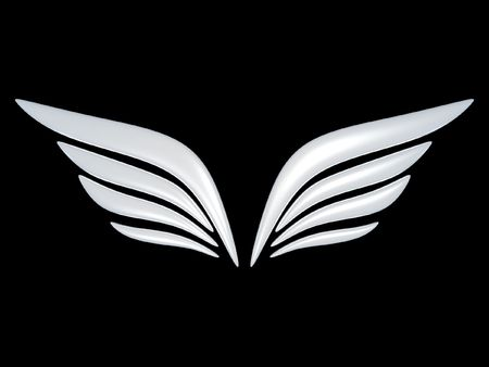 angel 3d: 3d bird wing symbol isolated on black background