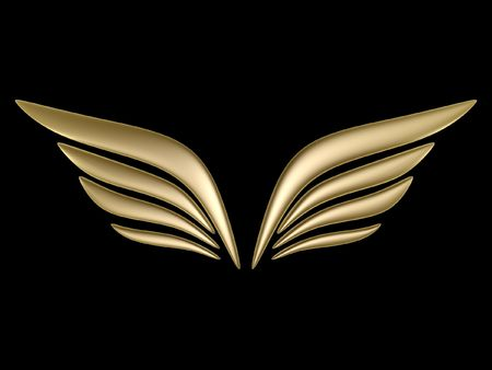 3d bird wing symbol isolated on black background