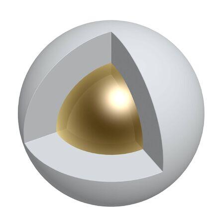 noyau: base d'or de la sph�re isol�e sur fond blanc