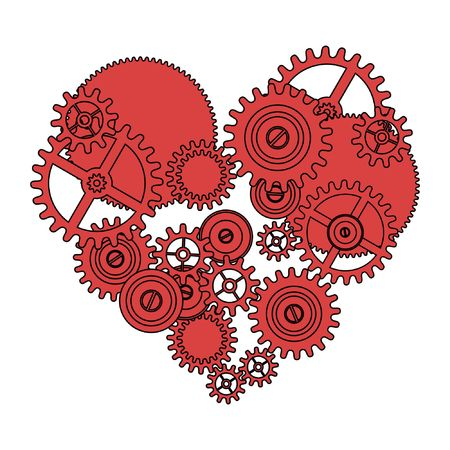 time work: gear love heart isolated on white background