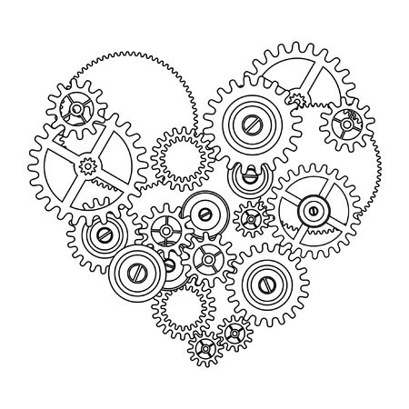 gear love heart isolated on white background